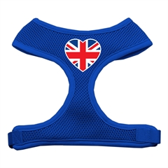 Mirage Pet Products Heart Flag UK Screen Print Soft Mesh Harness Blue Large