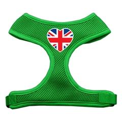 Mirage Pet Products Heart Flag UK Screen Print Soft Mesh Harness Emerald Green Medium