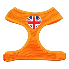 Mirage Pet Products Heart Flag UK Screen Print Soft Mesh Harness Orange Medium