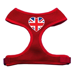 Mirage Pet Products Heart Flag UK Screen Print Soft Mesh Harness Red Medium