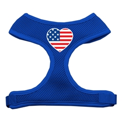 Mirage Pet Products Heart Flag USA Screen Print Soft Mesh Harness Blue Medium