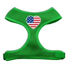 Mirage Pet Products Heart Flag USA Screen Print Soft Mesh Harness Emerald Green Medium