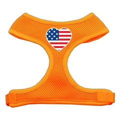 Mirage Pet Products Heart Flag USA Screen Print Soft Mesh Harness Orange Extra Large