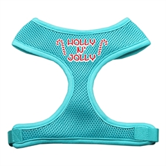 Mirage Pet Products Holly N Jolly Screen Print Soft Mesh Harness  Aqua Medium