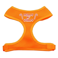 Mirage Pet Products Holly N Jolly Screen Print Soft Mesh Harness  Orange Large