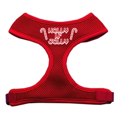 Mirage Pet Products Holly N Jolly Screen Print Soft Mesh Harness  Red Large