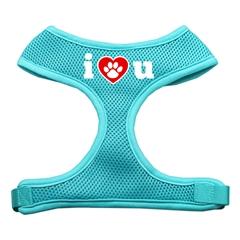 Mirage Pet Products I Love U Soft Mesh Harnesses Aqua Medium