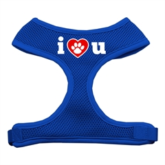 Mirage Pet Products I Love U Soft Mesh Harnesses Blue Medium