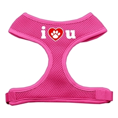 Mirage Pet Products I Love U Soft Mesh Harnesses Pink Large