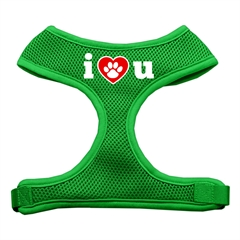 Mirage Pet Products I Love U Soft Mesh Harnesses Emerald Green Large