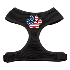 Mirage Pet Products Paw Flag USA Screen Print Soft Mesh Harness Black Large