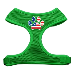 Mirage Pet Products Paw Flag USA Screen Print Soft Mesh Harness Emerald Green Large