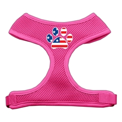 Mirage Pet Products Paw Flag USA Screen Print Soft Mesh Harness Pink Extra Large