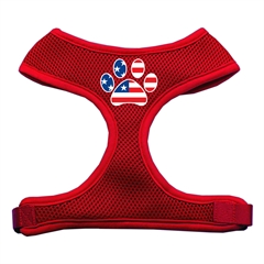 Mirage Pet Products Paw Flag USA Screen Print Soft Mesh Harness Red Medium