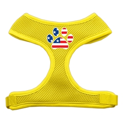 Mirage Pet Products Paw Flag USA Screen Print Soft Mesh Harness Yellow Medium