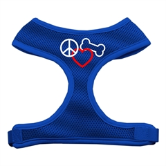 Mirage Pet Products Peace, Love, Bone Design Soft Mesh Harnesses Blue Large