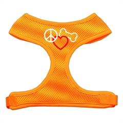 Mirage Pet Products Peace, Love, Bone Design Soft Mesh Harnesses Orange Extra Large