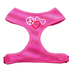 Mirage Pet Products Peace, Love, Bone Design Soft Mesh Harnesses Pink Medium