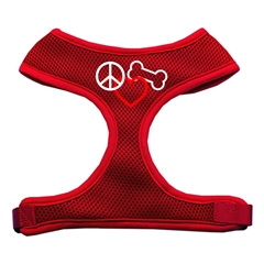 Mirage Pet Products Peace, Love, Bone Design Soft Mesh Harnesses Red Extra Large