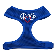 Mirage Pet Products Peace, Love, Paw Design Soft Mesh Harnesses Blue Large