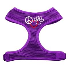 Mirage Pet Products Peace, Love, Paw Design Soft Mesh Harnesses Purple Medium