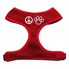 Mirage Pet Products Peace, Love, Paw Design Soft Mesh Harnesses Red Extra Large