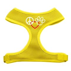 Mirage Pet Products Peace, Love, Paw Design Soft Mesh Harnesses Yellow Extra Large