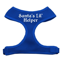 Mirage Pet Products Santa's Lil Helper Screen Print Soft Mesh Harness Blue Large