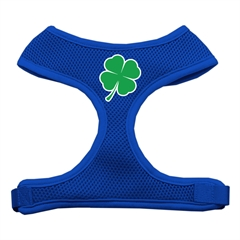 Mirage Pet Products Shamrock Screen Print Soft Mesh Harness Blue Large