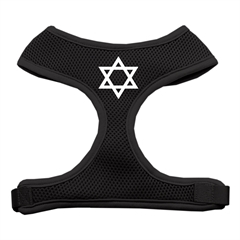 Mirage Pet Products Star of David Screen Print Soft Mesh Harness Black Medium