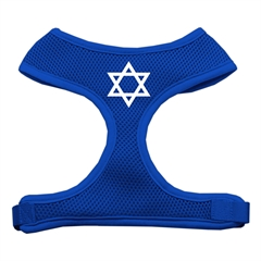 Mirage Pet Products Star of David Screen Print Soft Mesh Harness Blue Large