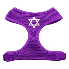 Mirage Pet Products Star of David Screen Print Soft Mesh Harness Purple Large