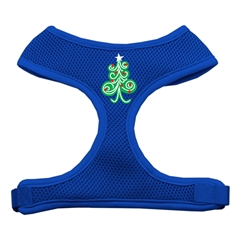 Mirage Pet Products Swirly Christmas Tree Screen Print Soft Mesh Harness Blue Medium