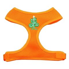 Mirage Pet Products Swirly Christmas Tree Screen Print Soft Mesh Harness Orange Large