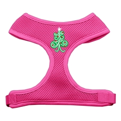 Mirage Pet Products Swirly Christmas Tree Screen Print Soft Mesh Harness Pink Large