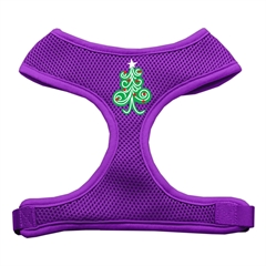 Mirage Pet Products Swirly Christmas Tree Screen Print Soft Mesh Harness Purple Small