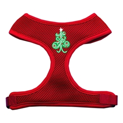 Mirage Pet Products Swirly Christmas Tree Screen Print Soft Mesh Harness Red Small