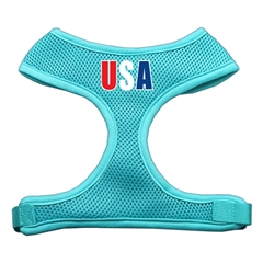 Mirage Pet Products USA Star Screen Print Soft Mesh Harness Aqua Extra Large
