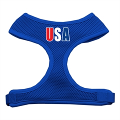 Mirage Pet Products USA Star Screen Print Soft Mesh Harness Blue Extra Large