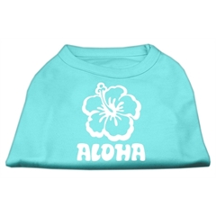 Mirage Pet Products Aloha Flower Screen Print Shirt Aqua Lg (14)