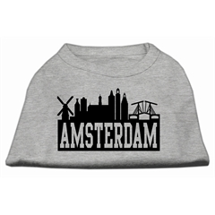 Mirage Pet Products Amsterdam Skyline Screen Print Shirt Grey XS (8)