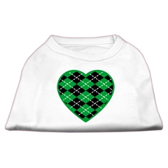 Mirage Pet Products Argyle Heart Green Screen Print Shirt White S (10)