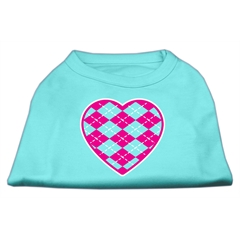 Mirage Pet Products Argyle Heart Pink Screen Print Shirt Aqua Lg (14)