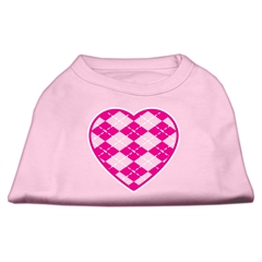Mirage Pet Products Argyle Heart Pink Screen Print Shirt Light Pink XXXL (20)