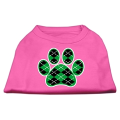 Mirage Pet Products Argyle Paw Green Screen Print Shirt Bright Pink Lg (14)