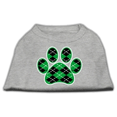 Mirage Pet Products Argyle Paw Green Screen Print Shirt Grey XXL (18)