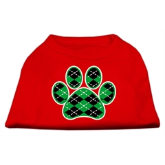 Mirage Pet Products Argyle Paw Green Screen Print Shirt Red XXL (18)