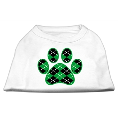 Mirage Pet Products Argyle Paw Green Screen Print Shirt White L (14)