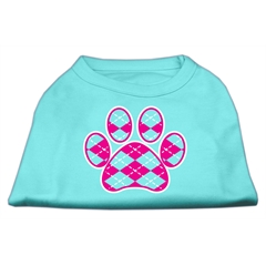 Mirage Pet Products Argyle Paw Pink Screen Print Shirt Aqua Lg (14)
