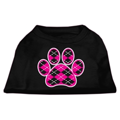 Mirage Pet Products Argyle Paw Pink Screen Print Shirt Black Lg (14)
